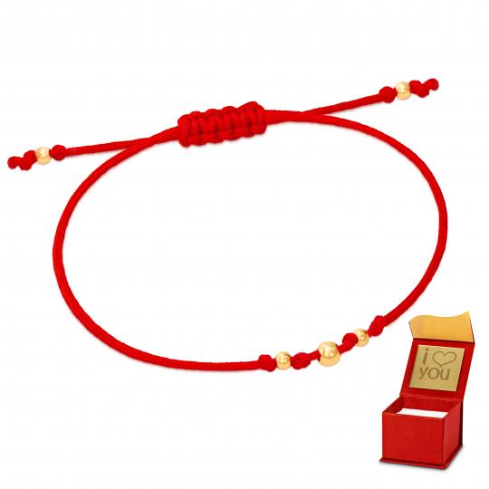 Złota bransoletka sznurkowa na dłoń KULECZKI próba 585
