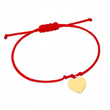 Złota bransoletka sznurkowa na dłoń MAŁE SERDUSZKO