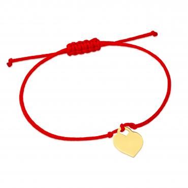 Złota bransoletka sznurkowa na dłoń DUŻE SERDUSZKO