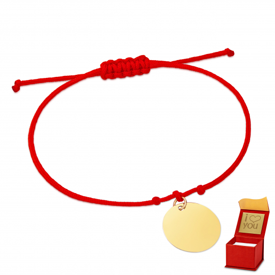 Złota bransoletka sznurkowa na dłoń KÓŁKO