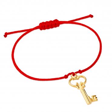 Złota bransoletka sznurkowa na dłoń KLUCZYK