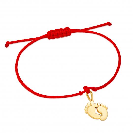 Złota bransoletka sznurkowa na dłoń STÓPKI BOBO MINI