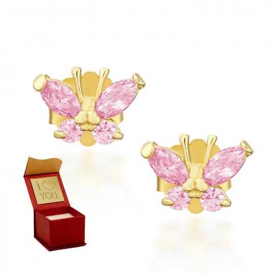 Złote kolczyki MOTYLKI jasny róż