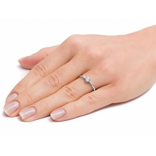 Zaręczynowy białe złoto z Cyrkoniami próba 585