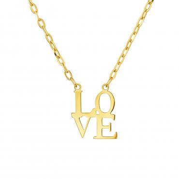 Romantyczny złoty Naszyjnik LOVE próba 585