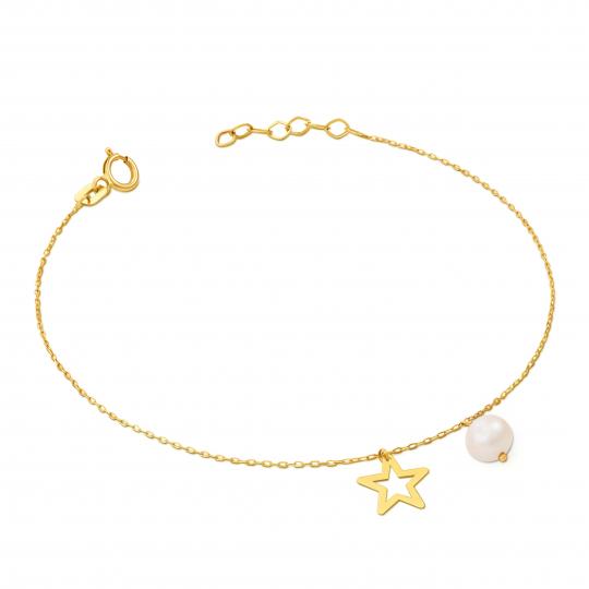 Złota bransoletka na dłoń z perełką PRÓBA 585