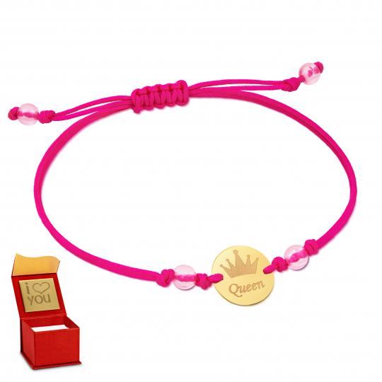 Złota bransoletka sznurkowa na dłoń Queen Pink I