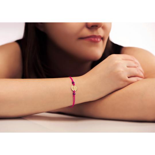 Złota bransoletka sznurkowa na dłoń Queen Pink II