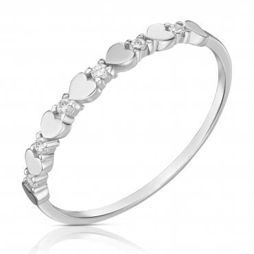 Złoty pierścionek białe złoto 585 serca