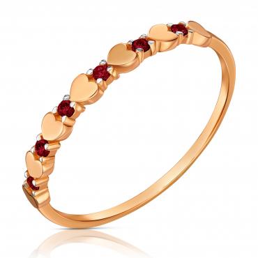 Złoty pierścionek różowe złoto 585 serca