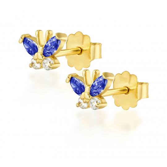 Złote kolczyki MOTYLKI niebieskie 585