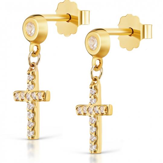 Złote kolczyki Mini krzyżyki próba 585