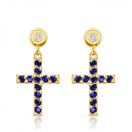 Złote kolczyki Mini krzyżyki niebieskie próba 585