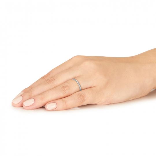 Złoty pierścionek Trójnik białe złoto 585