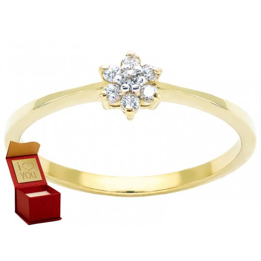 Złoty pierścionek Kamienie Kwiatek