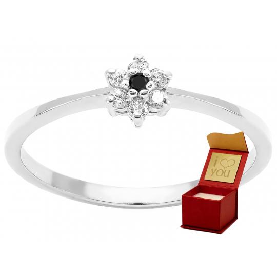 Złoty pierścionek Kamienie Kwiatek białe złoto 585