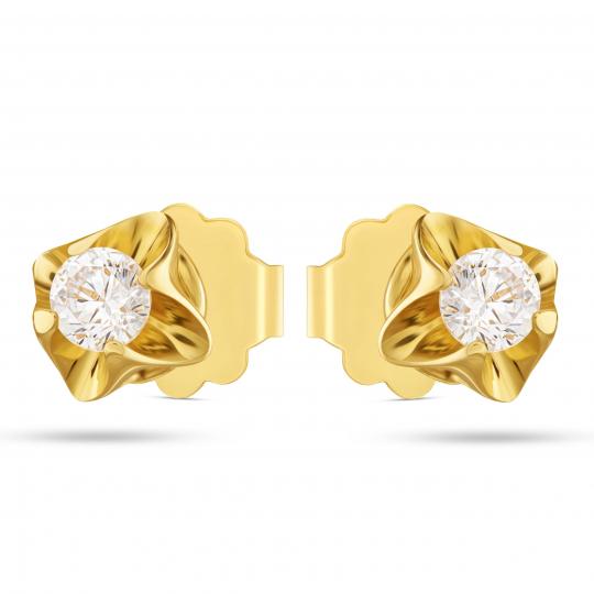 Delikatne złote kolczyki z przepiękną Cyrkonią