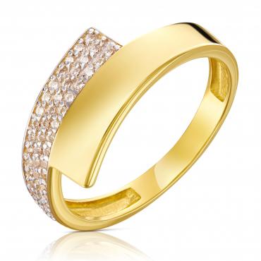 Złoty pierścionek Asymetryczny Piękny wzór