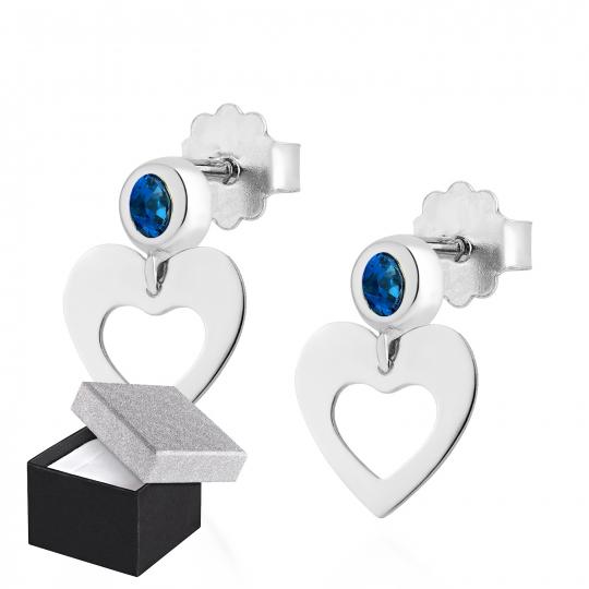 Srebrne kolczyki serce z szafirową cyrkonią 2,5mm