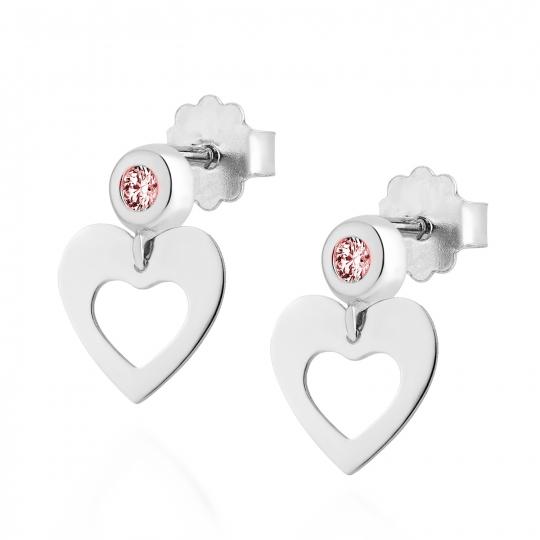 Srebrne kolczyki serce z różową cyrkonią 2,5mm