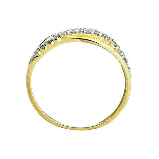 Przeplatany złoty pierścionek z drobnymi Cyrkoniami próba 585