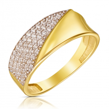 Złoty pierścionek Asymetryczna Obrączka