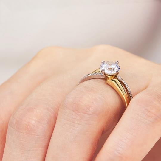 Złoty pierścionek PIĘKNY duży kamień