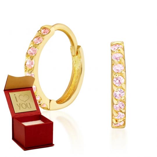 Złote kolczyki Princess Sparkle różowe kamienie próba 585
