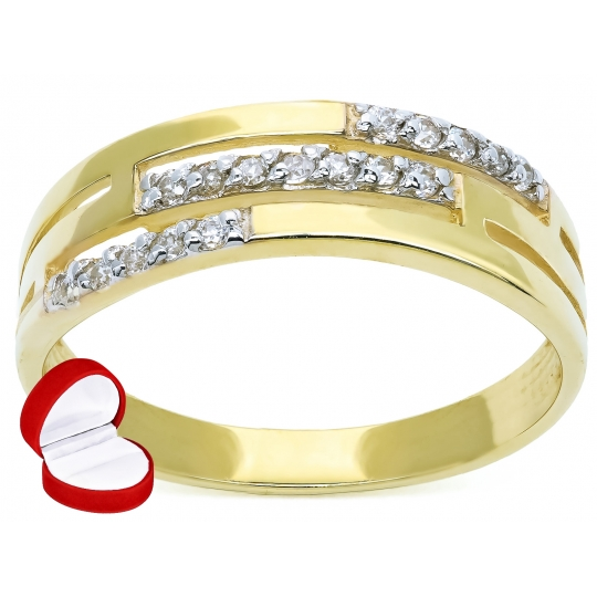 Złoty pierścionek Obrączka Kamienie 585