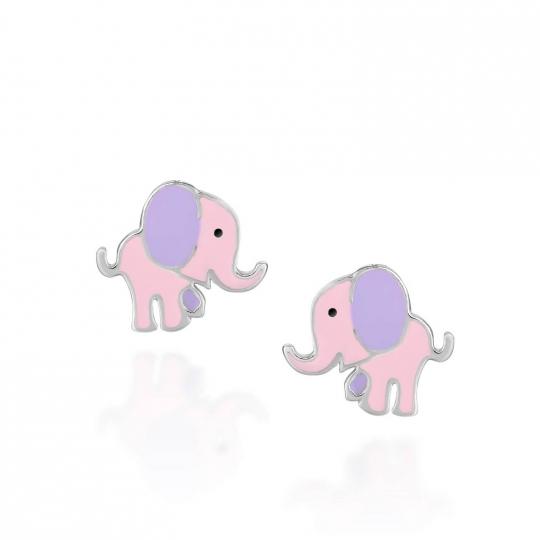 Srebrne kolczyki dziecięce słoniki na sztyfcie