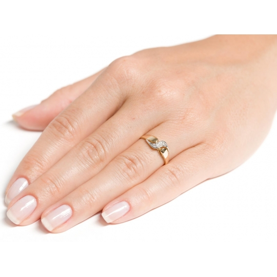 Złoty pierścionek Cyrkonie wzór PIĘKNA FALA próba 585