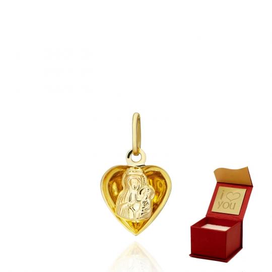 Medalik z Matką Boską w sercu chrzest/komunia próba 585