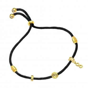 Pozłacana bransoletka czarny sznurek NIESKOŃCZONOŚĆ