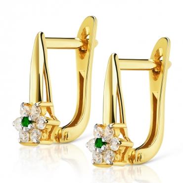 Złote kolczyki z cyrkoniami Kwiatek szmaragdowy kamień