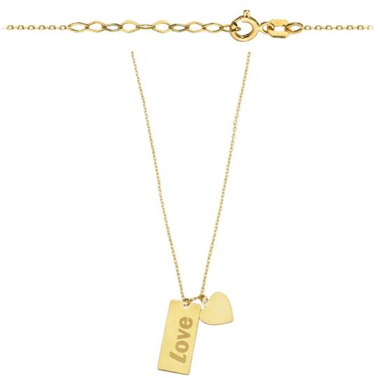 Naszyjnik złote serce i blaszka z napisem LOVE