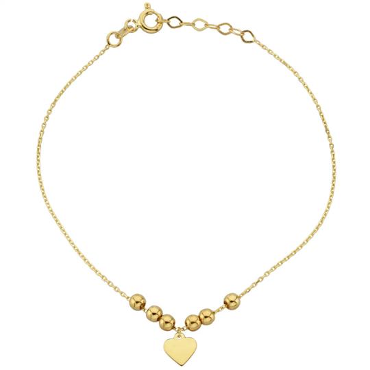 Bransoletka złota gładkie kuleczki i zawieszone serduszko