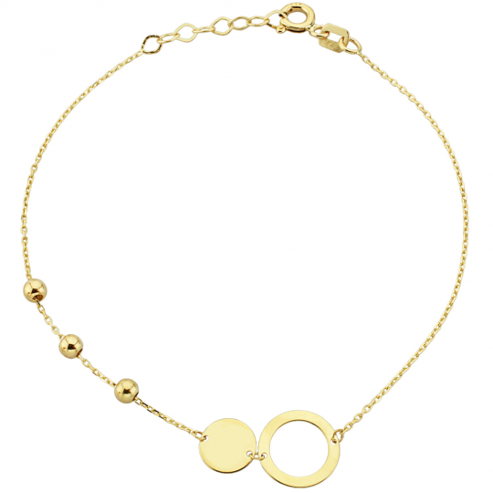 Bransoletka złota gładkie kuleczki oraz kółko i ring