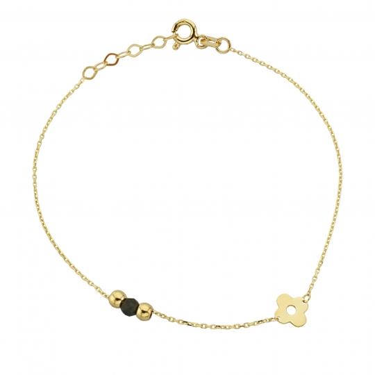 Bransoletka złota z kwiatkiem i kuleczkami złotymi i czarną