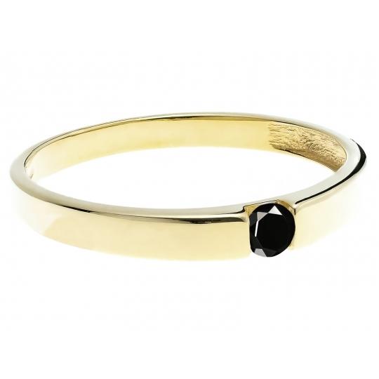 Złoty pierścionek kamień Obrączka czarny kamień