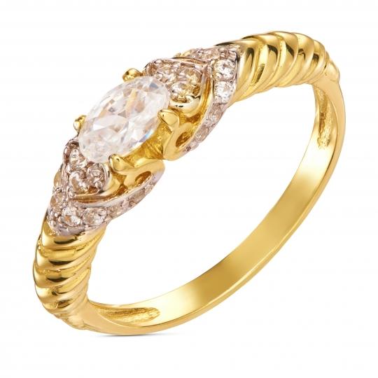 Złoty przeplatany pierścionek Cyrkonie