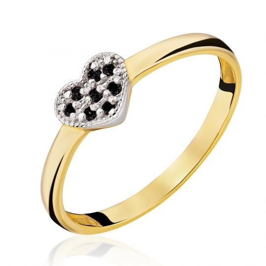 Złoty Pierścionek Serce z czarnych cyrkonii