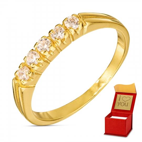 Złoty pierścionek BIAŁE KAMIENIE