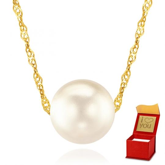Złoty naszyjnik z Perłą Lucia próba 585