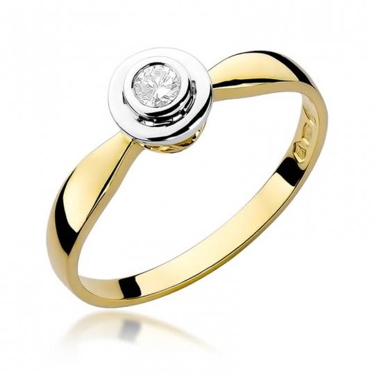 Złoty pierścionek z diamentem EY-294 0,10ct