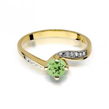 Złoty pierścionek z diamentem EY-84 oliwin