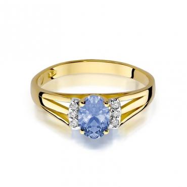 Złoty pierścionek z diamentem EY-5 tanzanit
