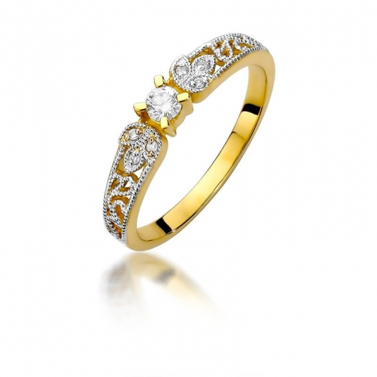 Złoty pierścionek z diamentem EY-411 0,13ct