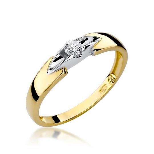 Złoty pierścionek z diamentem EY-124 0,10ct