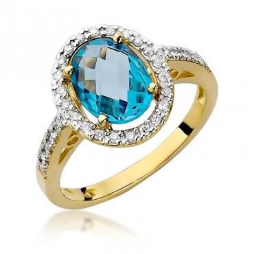 Złoty pierścionek z diamentem EY-80 topaz