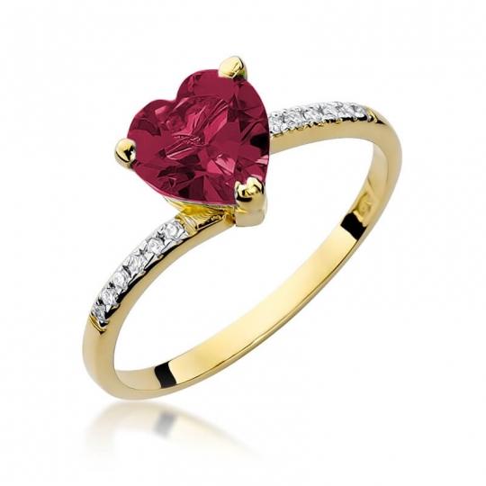 Złoty pierścionek z diamentem EY-50 rubin